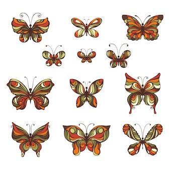 Farfalle ornate disegnate a mano isolate su priorità bassa bianca
