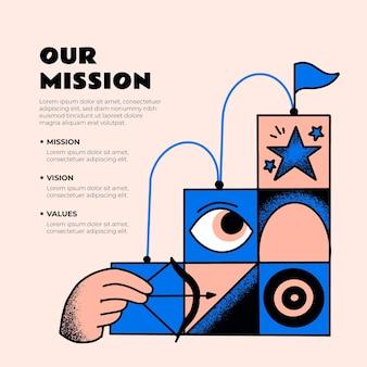 Disegnato a mano il nostro concetto di missione illustrato