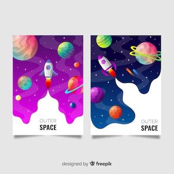 Banner di spazio esterno disegnato a mano