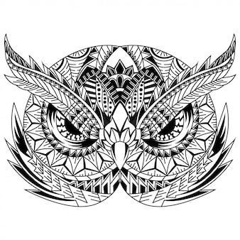 Disegnato a mano della testa del gufo in stile zentangle