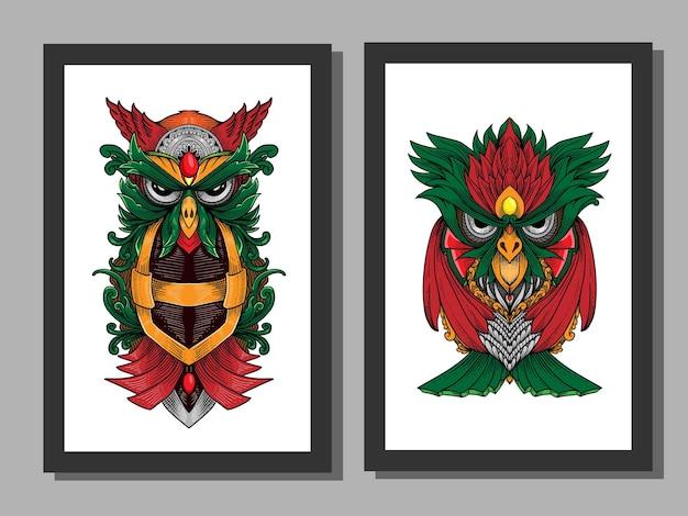 Mandala gufo disegnato a mano con ornamento in cornice pronto per la stampa