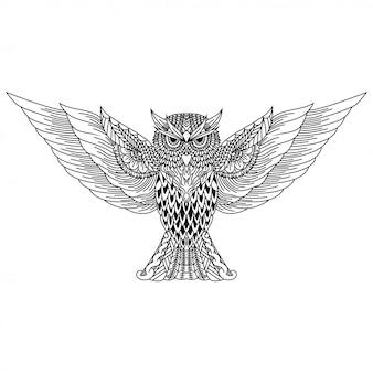 Disegnato a mano di gufo in stile zentangle