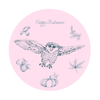Hand drawn of owls with autumn fruits and plants