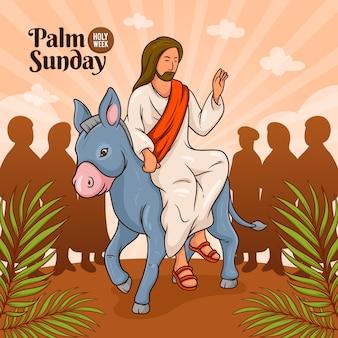 Illustrazione di domenica delle palme disegnata a mano