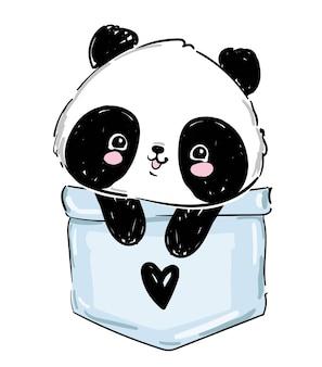 Panda disegnato a mano seduto in una tasca. abbozzo grafico orso panda stock.
