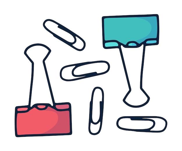 Icona di doodle disegnato a mano della graffetta nell'illustrazione di stile del fumetto