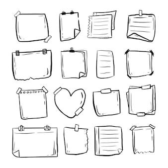 Grande raccolta dell'insieme delle note appiccicose di scarabocchio di carta disegnata a mano