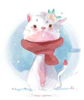Disegnata a mano linea parade doodle carino in animaletti che giocano dolcetto o scherzetto a halloween