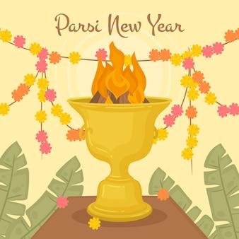 Illustrazione disegnata a mano del nuovo anno di parsi
