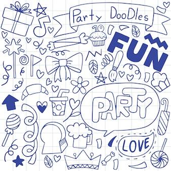 Mano disegnata festa doodle buon compleanno ornamenti motivo di sfondo