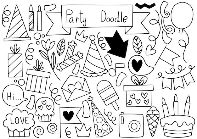Illustrazione disegnata a mano degli ornamenti di buon compleanno di doodle del partito