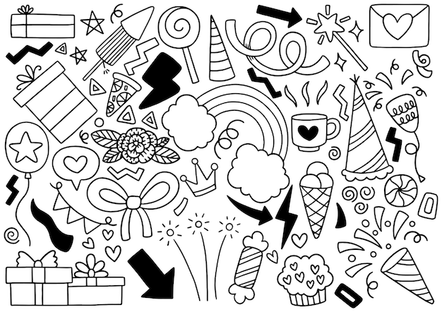 Ornamenti di buon compleanno di doodle festa disegnata a mano