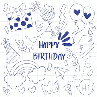Ornamenti di buon compleanno doodle festa disegnata a mano