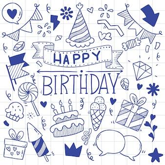 Illustrazione disegnata a mano del modello di buon compleanno di scarabocchio del partito