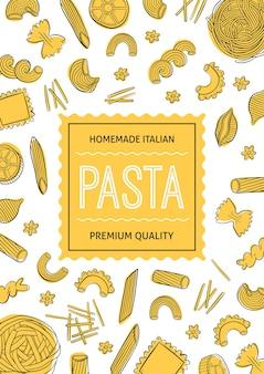 Menu di pasta disegnato a mano può essere utilizzato per confezionare menu bar ristorante street festival o agricoltori