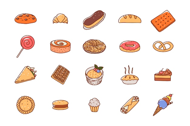 Icone di dolci pasticceria disegnati a mano