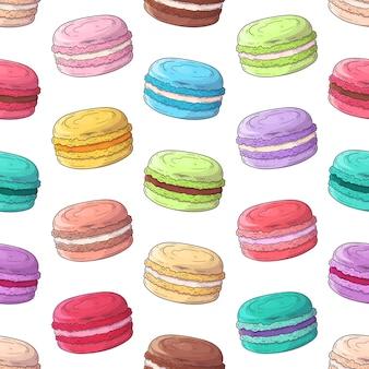 Maccheroni francesi del dessert del modello disegnato a mano