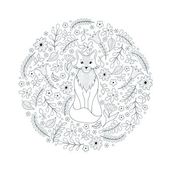 Motivo disegnato a mano con volpe e fiori su sfondo bianco