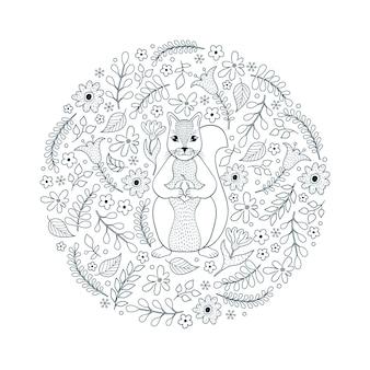 Motivo disegnato a mano con scoiattolo e fiori su sfondo bianco