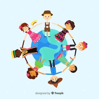 Disegnata a mano giornata di pace con i bambini Vettore Premium