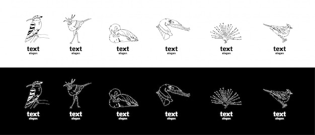 Grafica a matita disegnata a mano, set di uccelli