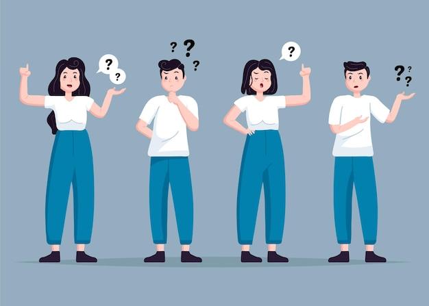 Persone disegnate a mano che chiedono raccolta di domande