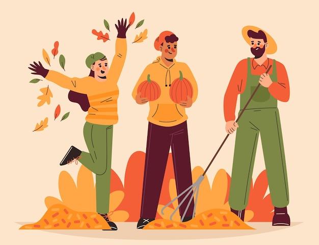 Persone disegnate a mano in autunno