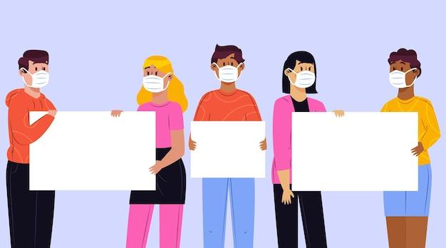 Persone disegnate a mano in maschere mediche con cartelli