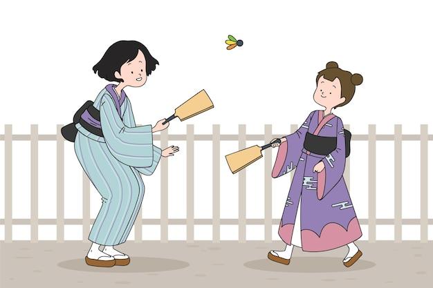 Persone disegnate a mano che giocano hanetsuki