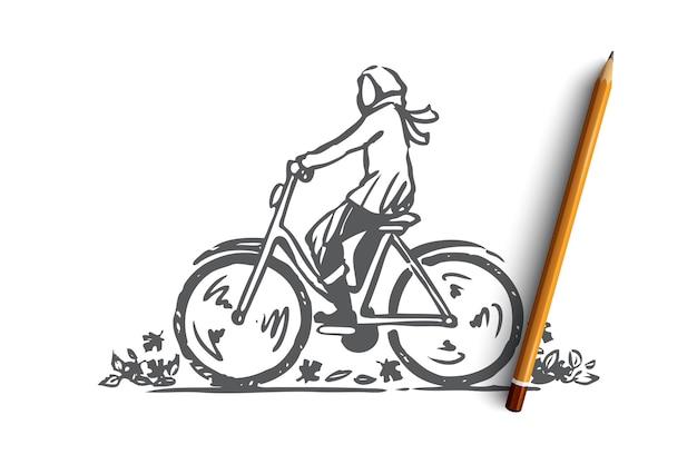 Persona disegnata a mano in bicicletta sullo schizzo del concetto di bici