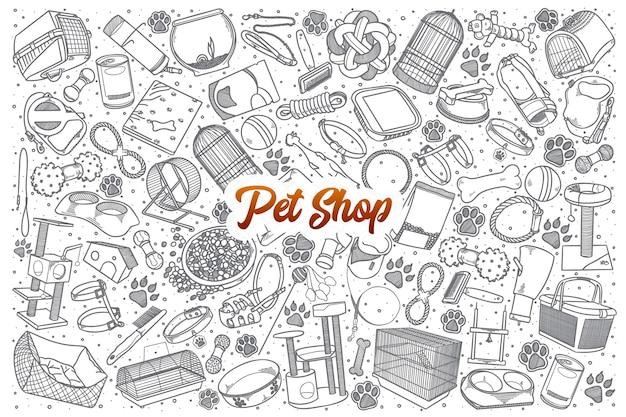 Fondo stabilito di doodle del negozio di animali disegnato a mano con scritte arancioni