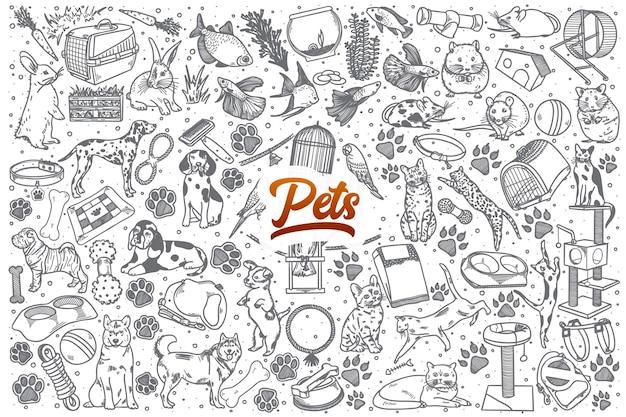 Animali domestici disegnati a mano doodle sfondo impostato con scritte rosse
