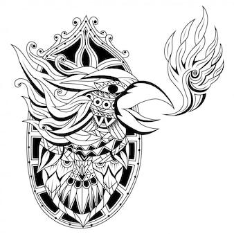 Disegnato a mano della testa di fenice in stile zentangle