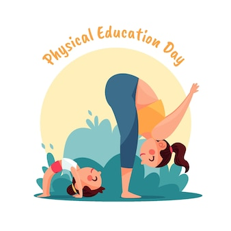 Illustrazione disegnata a mano del giorno di educazione fisica