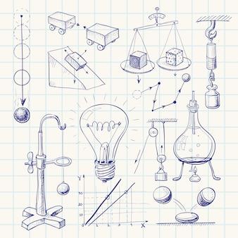 Doodle di fisica disegnati a mano