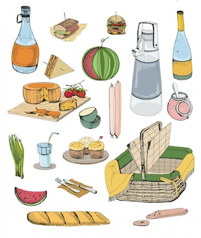 Set di oggetti da picnic disegnati a mano. raccolta con vari alimenti, bevande, illustrazione del cestino.