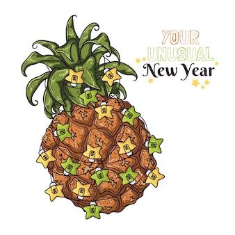 L'ananas disegnato a mano è decorato con le lanterne di capodanno