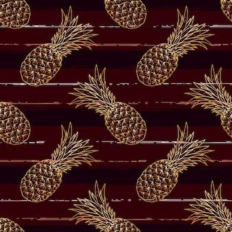 Modello senza cuciture di ananas disegnato a mano con stile pennello