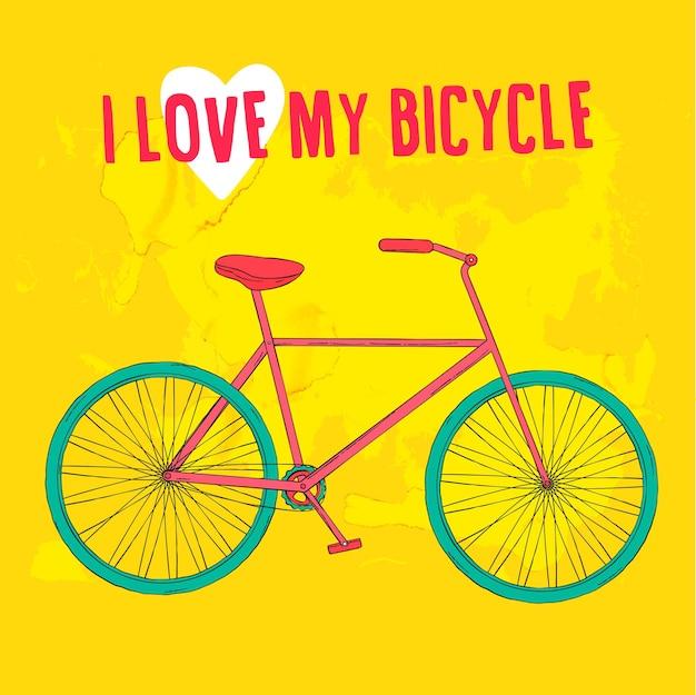 Bicicletta rosa e blu disegnata a mano su sfondo verde brillante. illustrazione vettoriale.