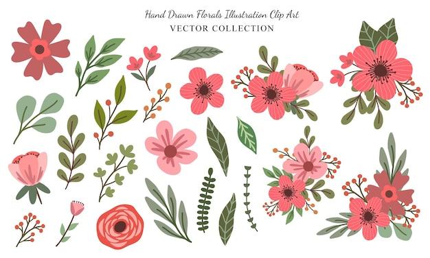 Elementi di illustrazione floreale rosa disegnata a mano clipart vector collection