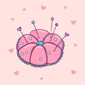 Puntaspilli rosa disegnato a mano con spilli e aghi su sfondo rosa con cuori.