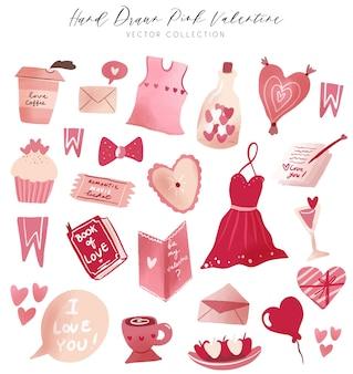 Clipart rosa disegnato a mano della raccolta di vettore del biglietto di s. valentino