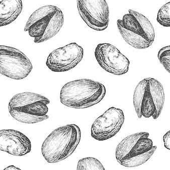 Fondo disegnato a mano del modello del pistacchio