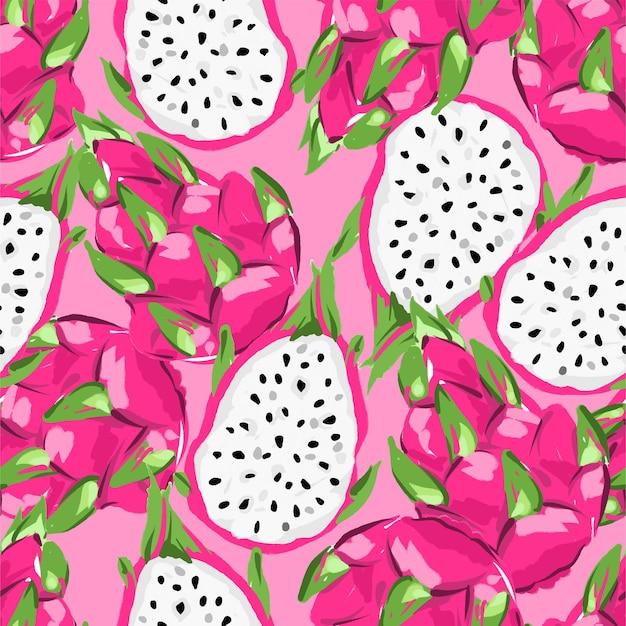 Reticolo senza giunte disegnato a mano della frutta di pitaya.
