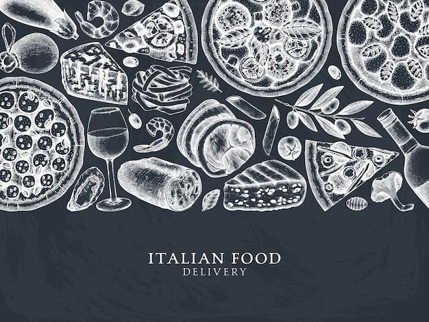 Cornice vista dall'alto di pizza, pasta, ravioli e ingredienti disegnati a mano. menu di cibo e bevande italiano sulla lavagna. d modello. schizzo dell'annata di cucina italiana per la consegna del cibo, pizzeria