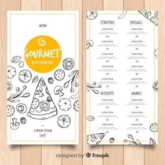 Modello di menu ristorante disegnato a mano della pizza