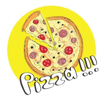 Pizza disegnata a mano con fetta - illustrazione vettoriale brillante