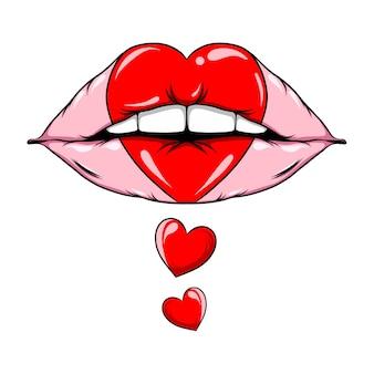 La mano disegnata delle labbra carnose con il segno di amore colorato dell'illustrazione