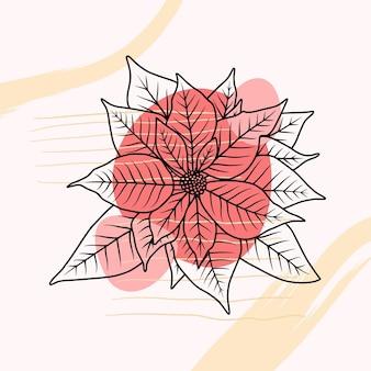Stella di natale disegnata a mano in stile arte linea a