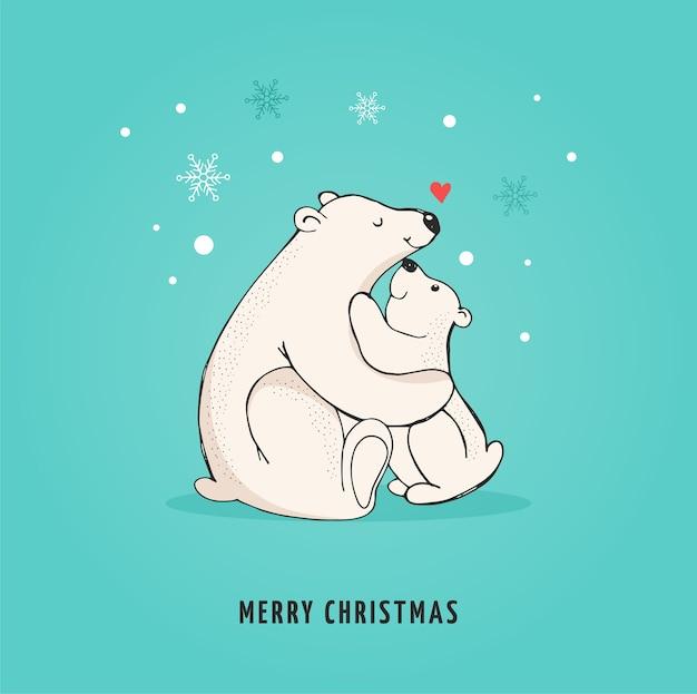 Orso polare disegnato a mano, simpatico set di orsi, orsi madre e bambino, coppia di orsi.